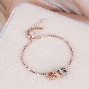Michael Kors Rose Gold Crystal Logo Chain Bracelet